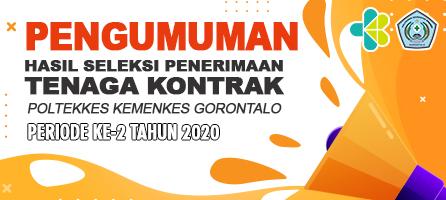 Daftar Hasil Seleksi Penerimaan Tenaga Kontrak di Lingkungan Poltekkes Kemenkes Gorontalo Periode Ke-2 Tahun 2020