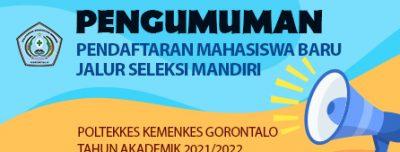 Pendaftaran Mahasiswa Baru Jalur Seleksi Mandiri Polkesgo T.A 2021/2022